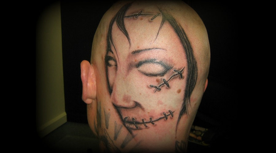 Face  Stitches  Head  Evil  Woman  Black White