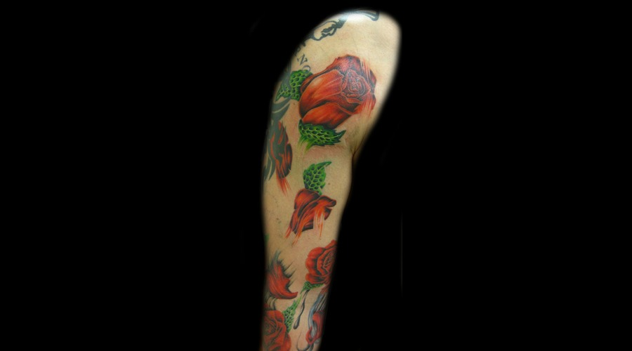 Color  Roses  Half Sleeve Color