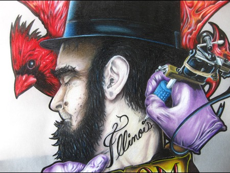 Colored Pencil  Abe Lincoln Tattooed Color