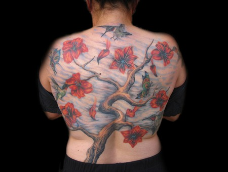 Back Piece  Color  Tree  Flowers  Humming Bird Color