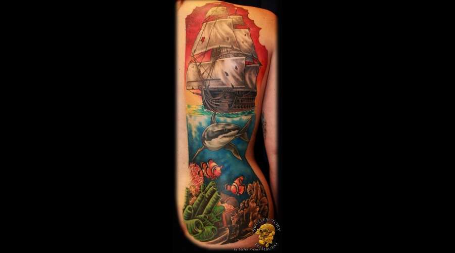 Back  Shark  Nemo  Fish  Sailing Ship  Water  Sea  Corals  Realistc Color Back