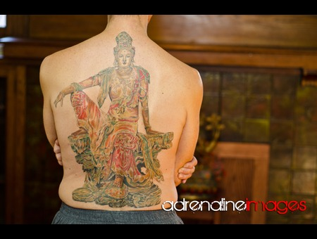 Asian  Back Piece  Kuan  Yin Bodhisattva  Chinese Art Color