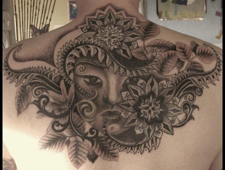Oriental Face  Leaves Black White Back