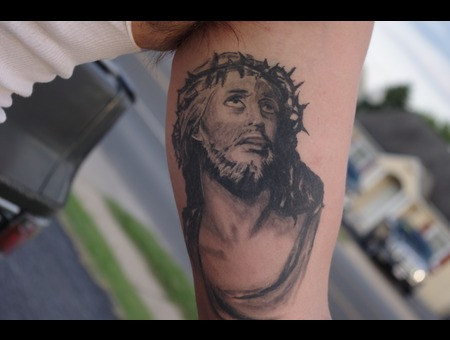 Jesus  Portrait  Arm  Tattoo Black White