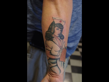 Pinup  Nurse  Arm  Tattoo  Color Color