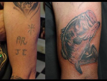 Coverup  Fish  Arm  Tattoo Black White