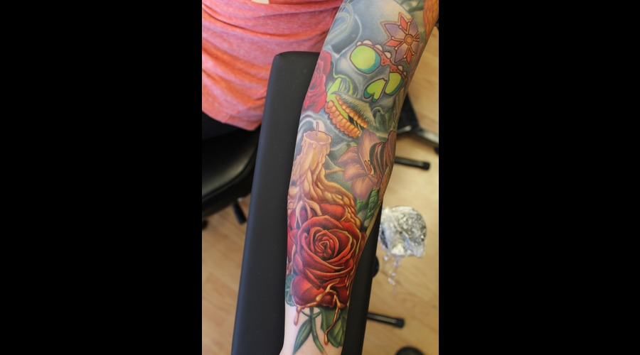 Day Of The Dead  Candle  Rose Color