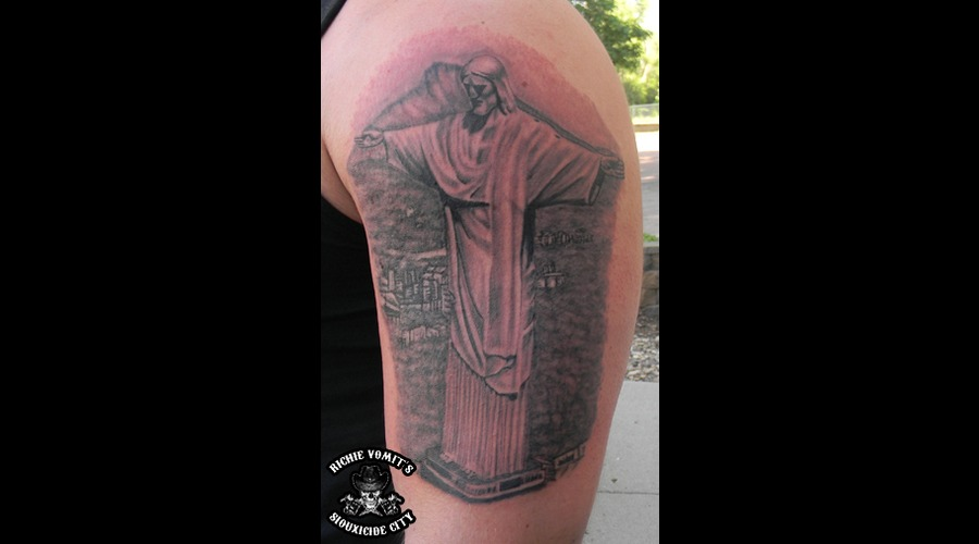 Christ The Redeemer Statue Black Grey Arm
