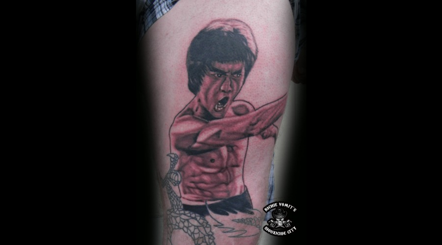 Bruce Lee Black Grey Thigh