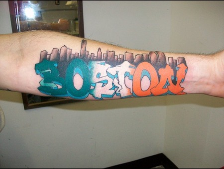 Boston  Lettering  Skyline  Grafiti  Arm  Forearm Color