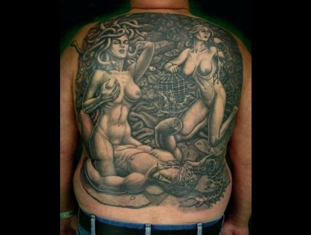 Medusa  Backpiece Black White