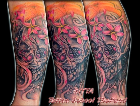 Skull Tattoo Black And White Flower Skull Black White