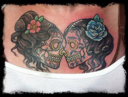 Sugar Skull  Sugar  Skull  Tattoo  Chest  Boobs  Flower  Girl Color
