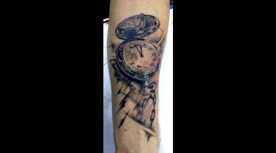 Poket Watch    Tattoo By Raul  Open Mind Tattoo Black White