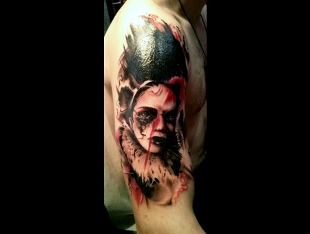 Face   Tattoo By Raul  Open Mind Tattoo Black White