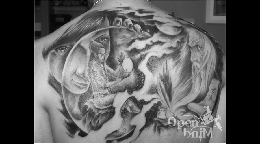 Tattoo By Raul  Open Mind Tattoo Black White