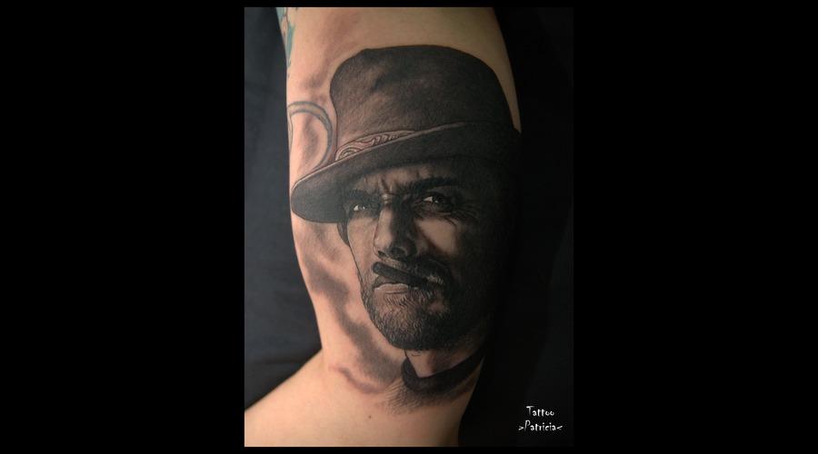 Clint Eastwood  Portrait Black Grey