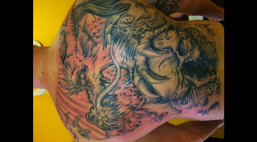 Backpiece  Dragon  Skull  Black White