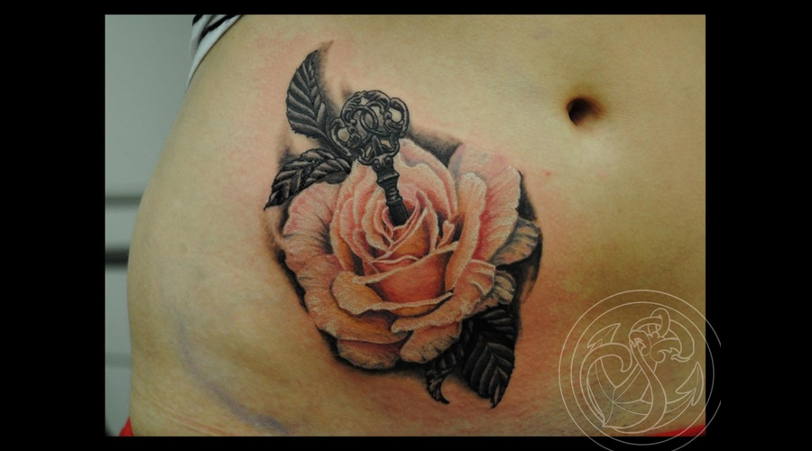 Rose  Tattoo  Key  New  Traditional  Realistic  Peach   Color