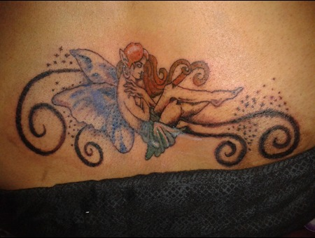 Lower Back Tattoo  Angel Tattoo Color