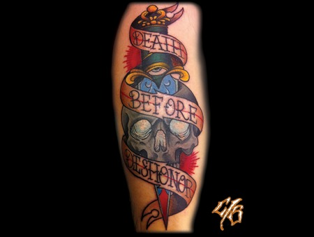 Skull  Dagger  Banner  Calf Tattoo Color