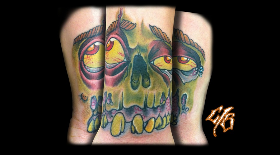 Zombie  Wrist Tattoo Color