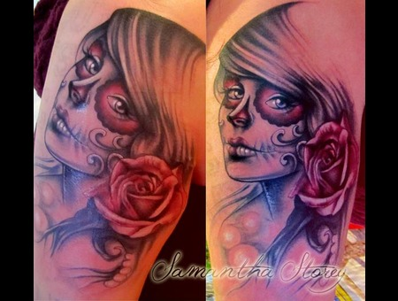 Sleeve  Rose  Day Of The Dead  Face  Girl  Portrait  Soft  Glow  Pretty   Color