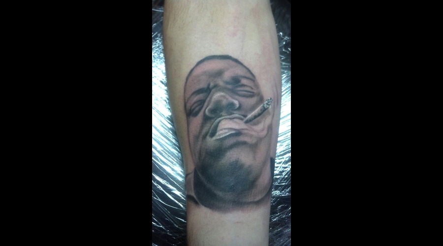Biggie Smalls Portrait Tattoo Black Grey Forearm