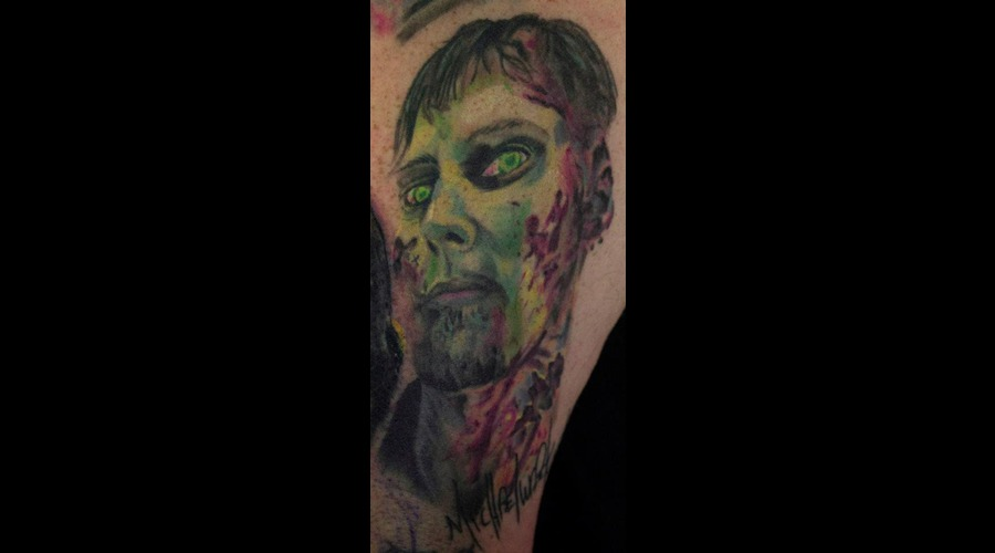 Michael Koske Form The Walking Dead   Zombie Portrait Tattoo Color Arm