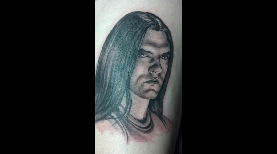 Peter Steele Tattoo Portrait Black Grey Thigh