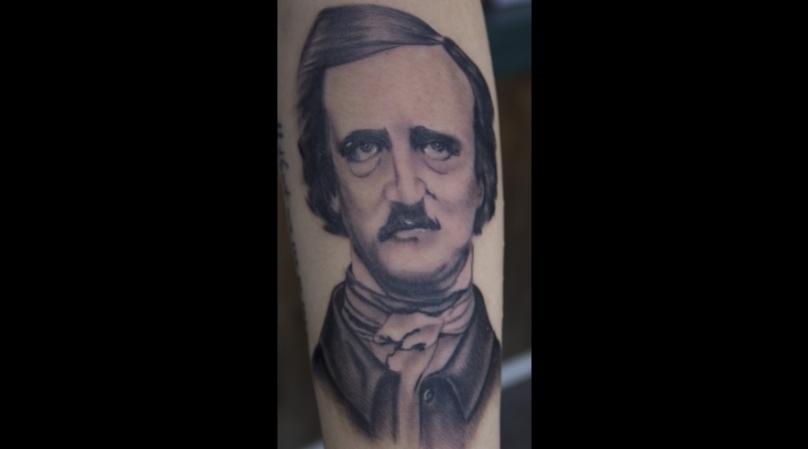Edgar Allan Poe Portrait Tattoo Black Grey Forearm