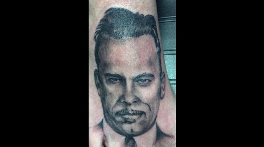 John Dillenger Portrait Tattoo Black Grey Foot