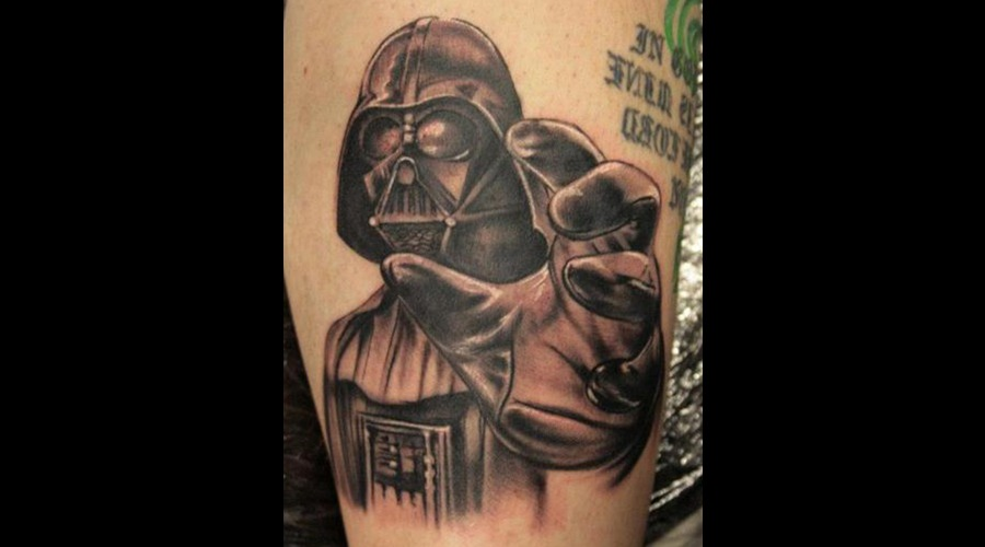 Star Wars Tattoo Darth Vader Black Grey Lower Leg