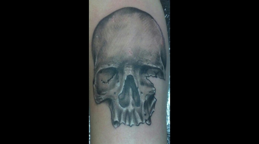 Freehand Skull Tattoo Black Grey Arm