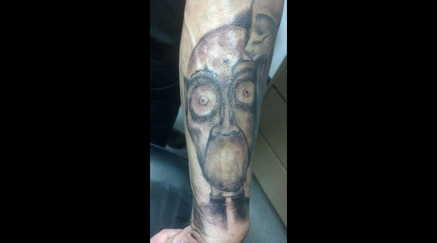 Freehand Preist Speak No Evil Tattoo Black Grey Arm