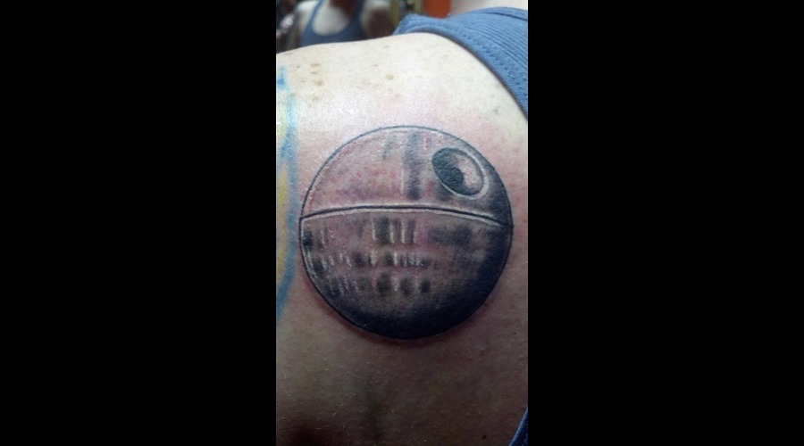 Death Star Tattoo Star Wars Tattoo Black Grey Back