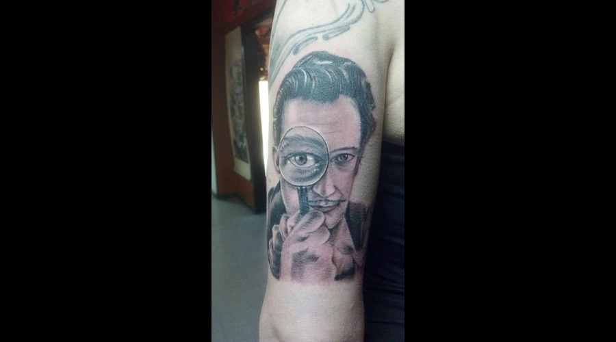 Salvador Dali Portrait Tattoo Black Grey Arm
