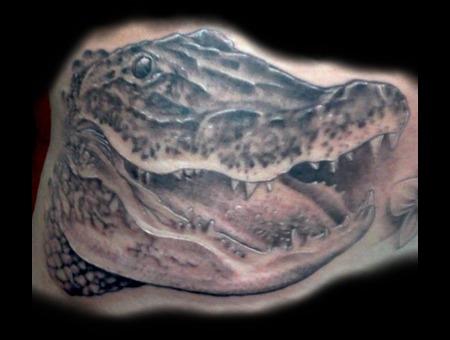Florida  Gator  Realism  Portrait  Tattoo Black White