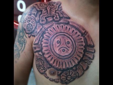 Taino  Black  Chest  Tattoo  Realism  Puertorico Black White
