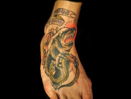 Neotraditional  Honeybadger  Foot  Tattoo Color