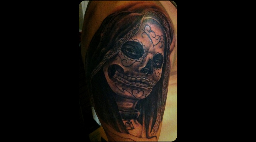 Coverup Dayofthedead Black White Arm