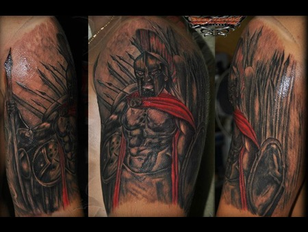 Spartanian Warior Of 300 Black White Arm