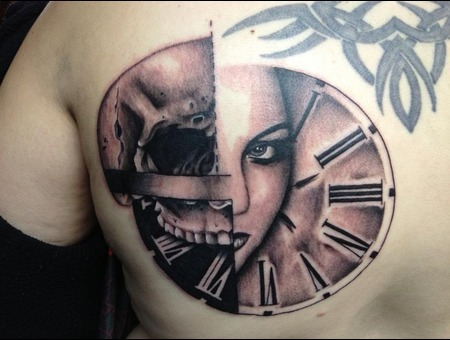 Trash Polka  Realistic Trash Polka  Skull  Clock  Black White