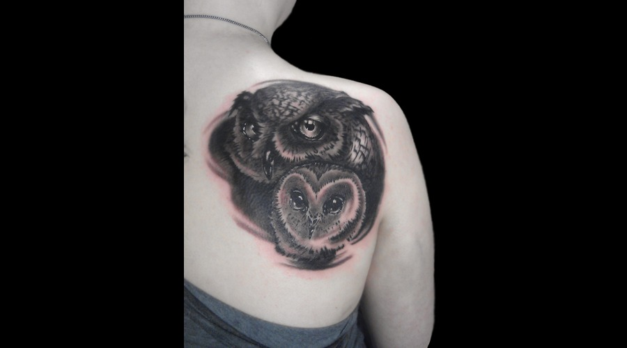 Owl Owls Ink Tattoo Back Realistic Black White Shoulder