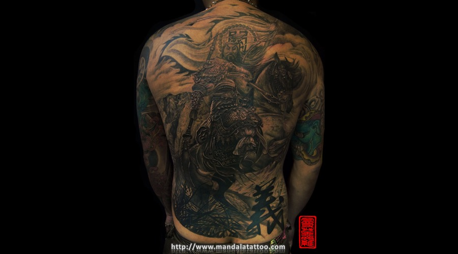 Chinese God Tattoo Black White