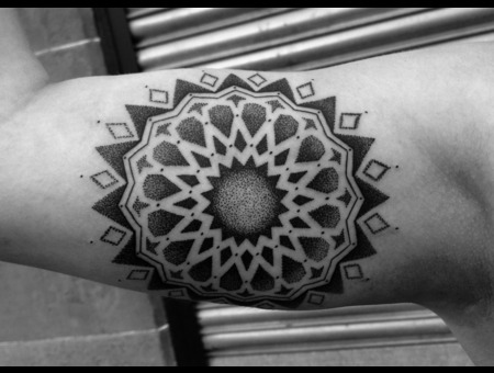Mandala Blackwork Dotwork Geometric Islamic Inner Arm Ornamental Black White
