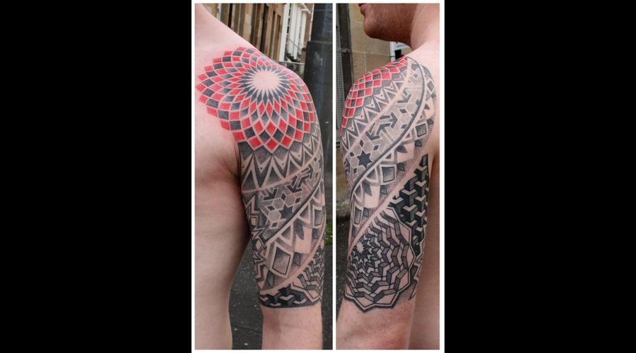 Dotwork Geometric Tribal Half Sleeve Ornamental Blackwork Black White