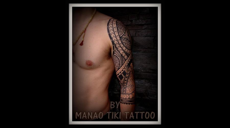 Polynesian Tattoo #Tatau Samoan #Island Style # Manao Tiki # Black White