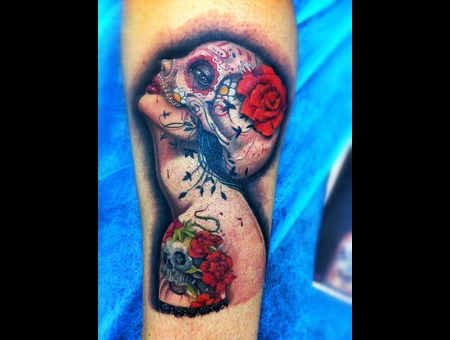 Pin Up  Catrina  Tattooed  Roses   Color