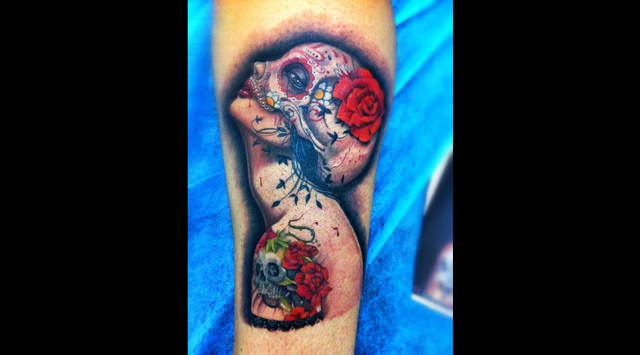 Pin Up  Catrina  Tattooed  Roses   Color
